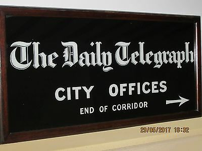 VINTAGE REVERSE GLASS PAINTED SIGN-DAILY TELEGRAPH-1930/40s