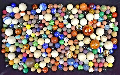 Early Antique Marbles Clay Bennington Big Ones All Handmade (262)