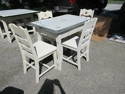 Vtg. Art Deco- Porclein Slide Top Kitchen Table & 4 Solid Wood Chairs