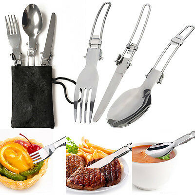 3x Camping Hiking Picnic Folding Cutlery Set Knife Fork Spoon Utensil+Bag Hot GE