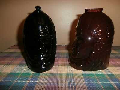Vintage 2 Wheaton Glass Indian Head Bank Ruby Red & Dark Green