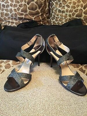 ebb856252 Jimmy Choo Lottie Gunmetal Silver Glitter Open Toe Ankle Sandal Heel Shoes  40.5
