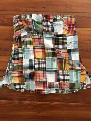 J CREW Women's Strapless Tube Top Size 6 Blue Madras Patchwork Plaid Style 94084