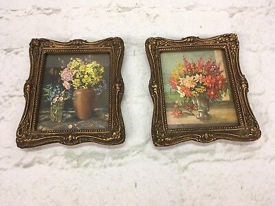 Pair of Vintage Victorian Gilded Gold Ornate Picture Frames Flowers Wall Art