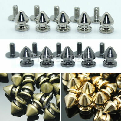 50 x Punk Spike Cone Screw Back Studs/Rivets 7mm x 10mm Leather craft Decoration