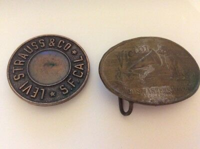 Vintage Round Levi Strauss & Co. Belt Buckle and victor his master's voice