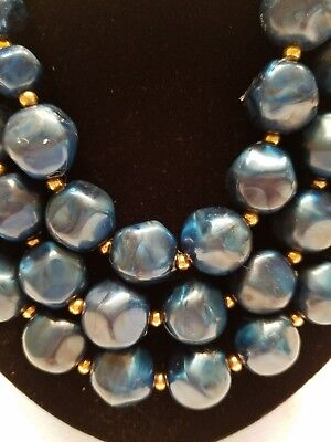 Vintage Blue Art Deco Plastic Chunky Bead 3 Strand Necklace Choker Marbled