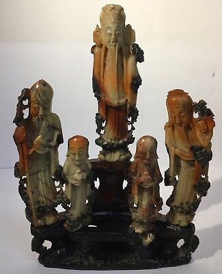 RARE Fine Qing Antique Chinese Carved Soapstone / Hardstone Figure Of Immortals