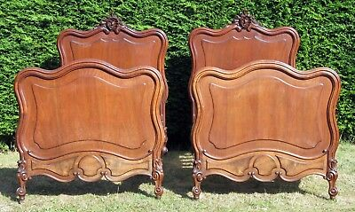 Pair of French Louis XV Carved Single Beds with Bases