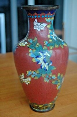 CHINESE Vintage VASE CLOISONNE ENAMEL Metal Flowers Foliage Red Blue & Yellow