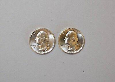 Two 1964 D Washington Silver Quarters Very Good Condition Not Graded