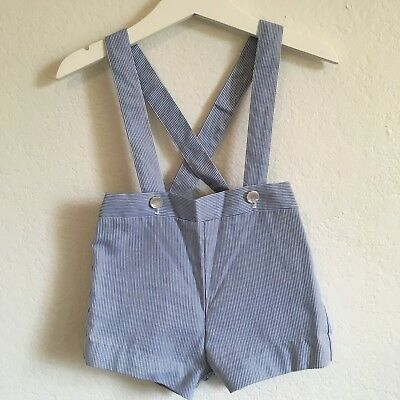 Vintage Baby Togs Baby Boy Overall Shorts Striped Suspenders Sz 18 Months Navy