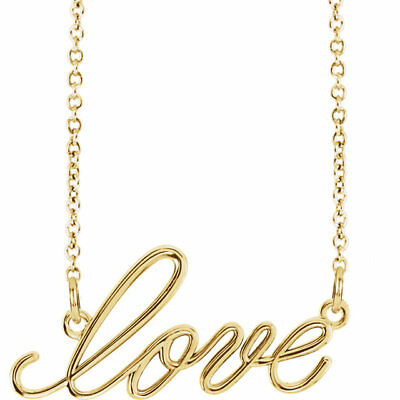 """""""Love"""" 16.5"""" Necklace In 14K Yellow Gold"""