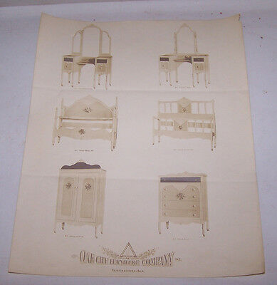 1930's OAK CITY FURNITURE CO Picture Page Dresser Bed Vanity TUSCALOOSA ALABAMA