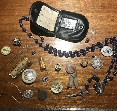 Large Lot of Antique Vintage Religious Items Rosary, Medals, Christianity