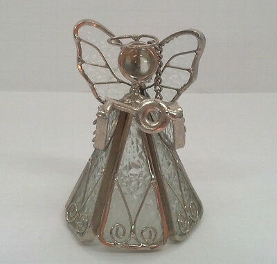 handmade stain glass free standing leaded winged angel frosted glass  chain