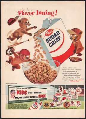 1955 Post Cereal ad Sugar Crisp Ted Williams Free Major League Baseball Patches