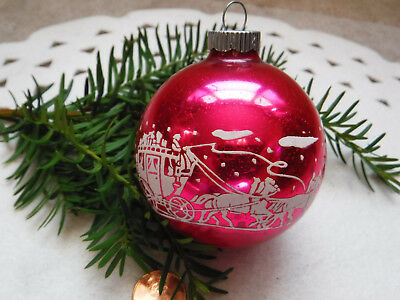 Vintage Stenciled Shiny Brite Hot Pink Western Stagecoach Horses Glass Ornament