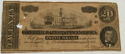 $20 Confederate States of America currency. Richmond February 17th 1864. Lot16A