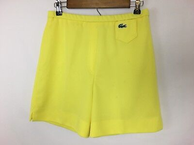 """Vintage Haymaker LACOSTE Women's Yellow Polyester Shorts Size 10 (28"""" Waist)"""