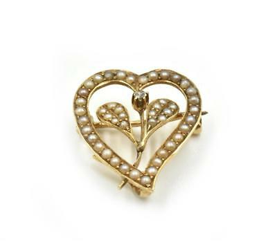 Vintage Seed Pearl Heart Pin 14k Yellow Gold