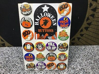Vintage 1970s Unused Halloween Metal Button Badge Pins Two Sided Store Display