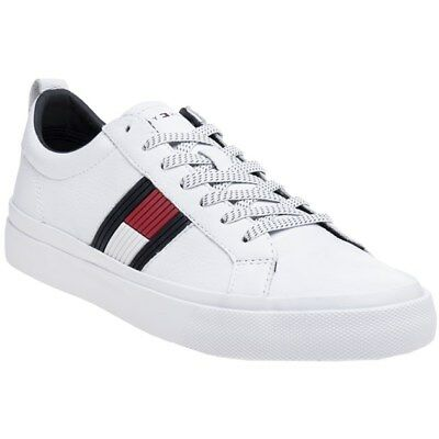 New Mens Tommy Hilfiger White Flag Leather Trainers Retro Lace Up