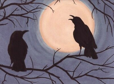 Pair of crows (ravens) backlit in old tree by full moon / Lynch folk art print