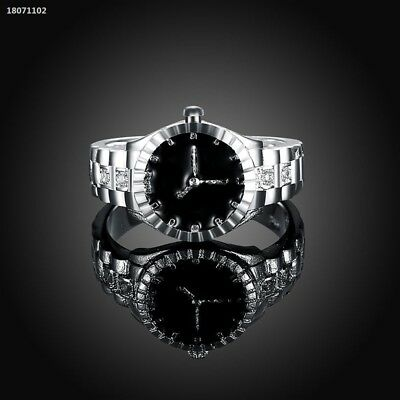 Creative Women Silver Finger Ring Watch Alloy Personality Jewelry Gift 3136