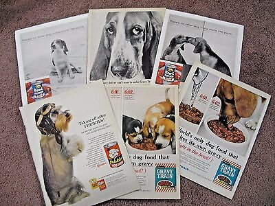 Qty 6 Dog Pet Large Full Page Ads Ken-L Ration Gravy Train Friskies Early 1960's