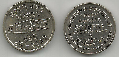 Colorado Springs, Colorado Sofspra Car Wash Token CO 1400A Bud Hurd's