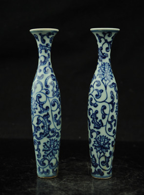 A pair Fine Beautiful Chinese Blue and white porcelain vase painting flower c01