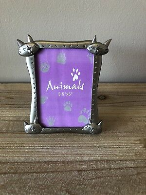 Animals cat picture frame 3.5x5 Silver Colored Metal