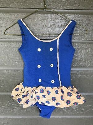 Vintage Girls Child Bathing Swimming Suit Homemade Blue w/ Floral Skirt