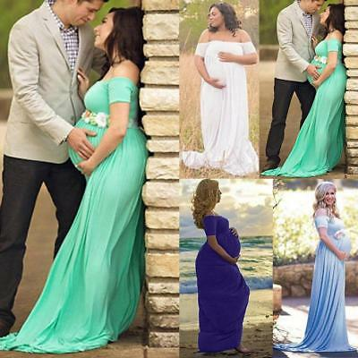 Womens Maternity Lace Dress Pregnant Photography Props Maxi Photo Shoot Gown