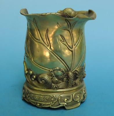 Chinese old pure copper hand-carved dragon and crab brush pot e01