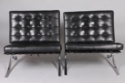 PAIR OF EARLY 21ST CENTURY BLACK LEATHER BARCELONA CHAIRS, After Mie... Lot 1318