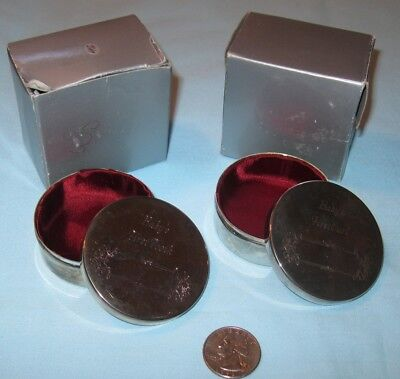 Baby Keepsake Silver Tins 1st Tooth & Curl lot 2 UNused vtg Tarnished