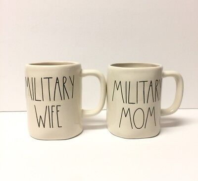 Rae Dunn MILITARY WIFE & MILITARY MOM Mugs Set Of 2 USA Patriotic LL HTF NEW