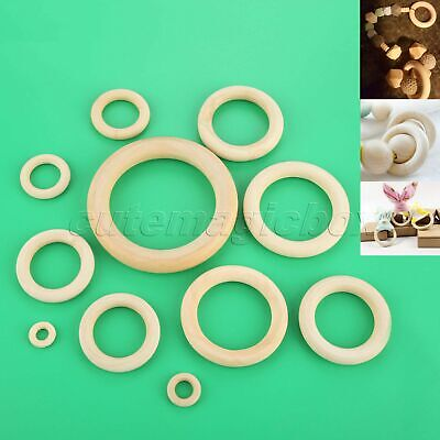 Natural Wood Teething Rings Wooden Necklace Bracelet DIY Unifinished 15-100mm