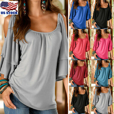 Womens Ladies Summer Cold Shoulder Blouse Batwing Loose Casual Tee Shirt Tops US