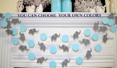 Elephant Garland Baby Shower Decorations Blue Gray Nursery