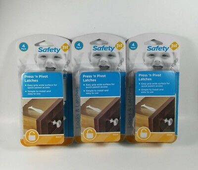 Safety 1st Press & Pivot Latches 4 Pack Drawers Cabinets Lot Of 3 NIB Protection