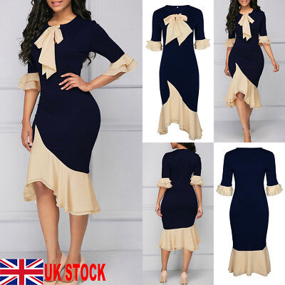 Women Vintage Chiffon Tie Lace Up Bodycon Party Evening Cocktail Prom Midi Dress