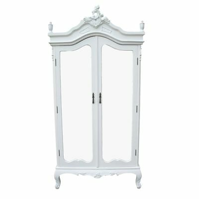 French Antique White Chateau Shabby Chic Mirrored Double Armoire Wardrobe