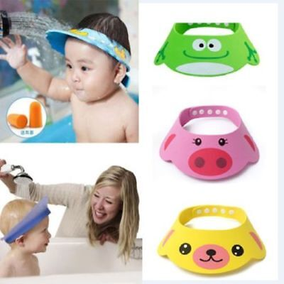 Baby Kids Cartoon Bathing Shower Cap Shampoo Bath Wash Hair Shield Soft Hat HOT