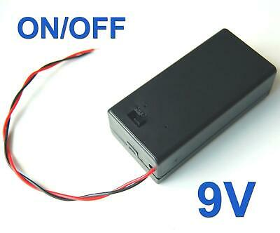 2Pcs 9V Volt PP3 Battery Holder Box DC Case With Wire Lead ON/OFF Switch Cover