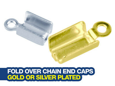 Fold Over End Caps for Jewellery Chain Making - Gold or Silver Plated Pack of 10