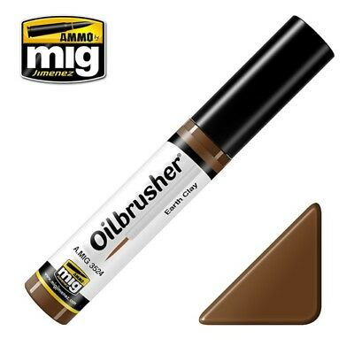 Ammo of Mig Oilbrusher Earth Clay - Oil Paint with Fine Brush Applicator #3524
