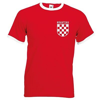 Hrvatska Badge Retro Ringer T-Shirt - Croatia Croatian Check World Cup